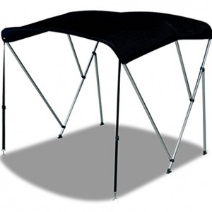 Oceansouth 3 Bow Bimini TOP Boat Cover with Rear Poles & Integrated Sock, Designed and Assembled in USA