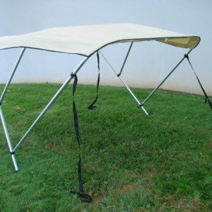 "TMS® 3 BOW Bimini Top Frame Boat Cover 6'L x 46""H x 67""-72""W Beige With Zipper Boot and Mounting Hardware"