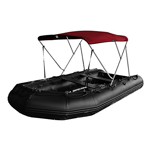 MSC® Rigid Inflatable Boat(RIB) Bimini Boat Top Cover with Rear Support Pole and Storage Boot, Color Grey, Burgundy available