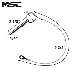 MSC® Stainless Steel Bimini Top Removable Clevis Pin Tethered,1/4 Sping,Pull Pin Tethered, pontoon square tube use-1EA