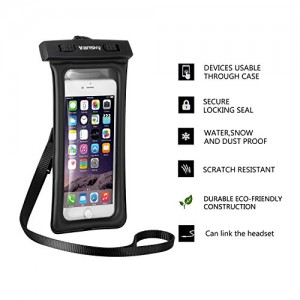 Vansky® Floatable Waterproof Case Dry Bag with Armband and Audio Jack for iPhone 6, 6 plus, 6s, 5, 5s, 4, Andriod; Eco-Friendly TPU Construction Waterproof Bag and IPX8 Certified to 100 Feet