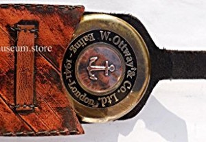 Antique Style W Ottway's Collectible Brass Compass with Leather Case - Large Poem Compass C-3026