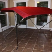 "Burgundy Vortex Pontoon / Deck Boat 4 Bow Bimini Top 12' Long, 79-84"" Wide, 54"" High, Complete Kit, Frame, Canopy, and Hardware (FAST SHIPPING - 1 TO 4 BUSINESS DAY DELIVERY)"
