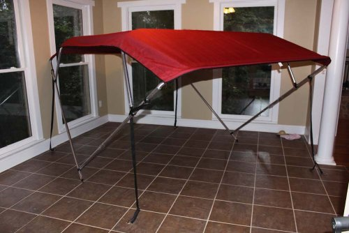 """Burgundy Vortex Pontoon / Deck Boat 4 Bow Bimini Top 12' Long, 79-84"""" Wide, 54"""" High, Complete Kit, Frame, Canopy, and Hardware (FAST SHIPPING - 1 TO 4 BUSINESS DAY DELIVERY)"""