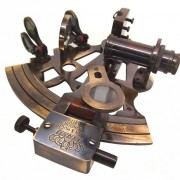 "Antiquated Brass 5"" Victorian Style Nautical Sextant in Glass-Topped Rosewood Display Case"