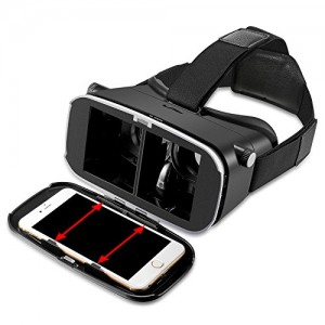 DESTEK V2 3D VR Virtual Reality Headset 3D VR Glasses with Bluetooth Controller & NFC for 4~5.7 inch Smartphones for 3D Movies/Games, Better than Google Cardboard