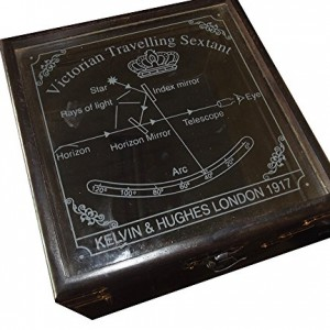 """Antiquated Brass 5"""" Victorian Style Nautical Sextant in Glass-Topped Rosewood Display Case"""
