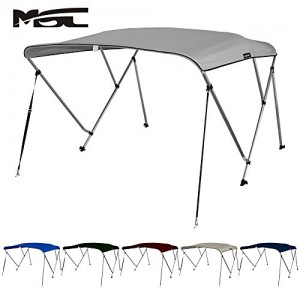 MSC® 3 Bow Bimini Boat Top Cover with Rear Support Pole and Storage Boot, Color Grey, Pacific Blue, Burgundy,Navy,Beige,Forest Green available