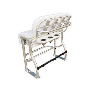 """36"""" Boat Leaning Post with 4 Aluminum Rod Holders, (3) stainless steel cup holders set in 1/2"""" thick starboard deck, Storage Box, Flip Down Foot Rest, Strap Cooler Restraint, Marine Grade Aluminum"""