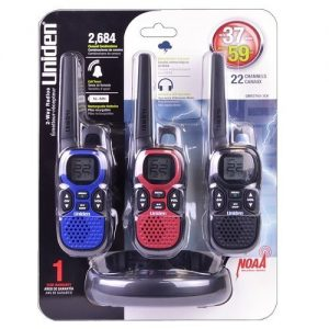 3 Pack Uniden GMR3740 22 Channel 37-Mile FRS/GMRS NOAA Weather Resistant 2-Way Radio w/Charging Cradle