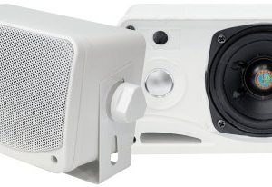 4) PYLE PLMR24 400 Watt 3 Way Marine Audio Boxed Mounted Mini Speaker System