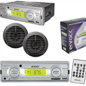 "200W Enrock In Dash Marine Boat MP3 USB AUX SD MMC Receiver Pair 2 6.5""Speakers"