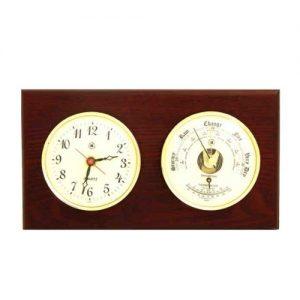 Clock with Barometer on a Mahogany Base