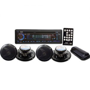 200-Watt Marine Receiver with Four 6 1/2 2-Way Speakers and Splash Proof Radio Cover-Black