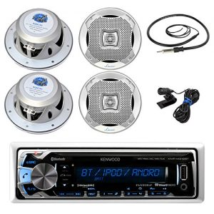 "New Kenwood In Dash Marine Boat Yacht Bluetooth Digital USB AUX iPod iPhone AM/FM Radio Stereo Player With 4 X Lanzar 400 Watts 6.5-inch 2-way Marine Audio Speakers and Enrock Marine 45"" Antenna - Complete Marine Audio Package"