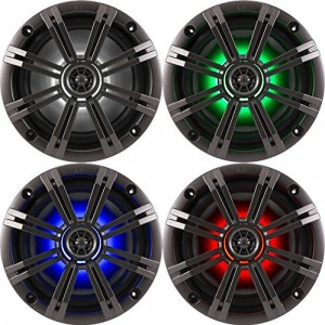 Kicker KM654LCW (41KM654LCW) 6.5 Inch 2-way Marine Speaker Pair with Built-In LED Lighting