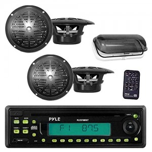 PYLE Waterproof Marine AM/FM/CD Player Receiver with 4 x 5.25-Inch Speakers and Splash-Proof Radio Cover